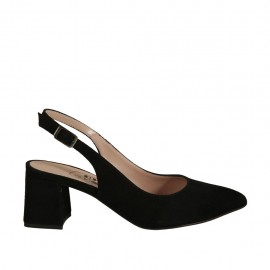 Woman's slingback pump in black suede heel 5 - Available sizes:  32