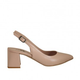 Woman's slingback pump in nude leather heel 5 - Available sizes:  32, 33, 34, 42, 43