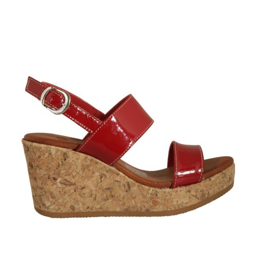 Woman's sandal in red patent leather with platform and wedge 7 - Available sizes:  43
