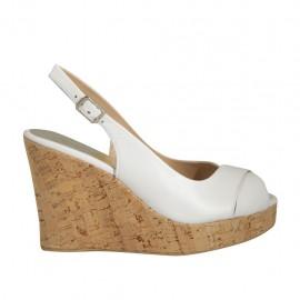 Sandalo da donna in pelle bianca zeppa 10 - Misure disponibili: 31, 32, 33, 34, 42, 43, 44, 45
