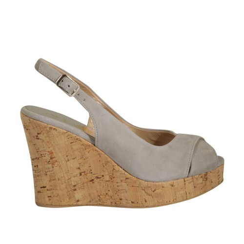 Woman's sandal in grey suede wedge heel 10 - Available sizes:  32, 33, 34, 42, 45