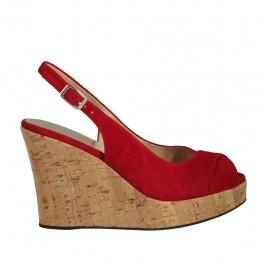 Sandalo da donna in camoscio rosso zeppa 10 - Misure disponibili: 31, 32, 33, 34, 43, 44, 45