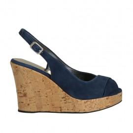 Sandalo da donna in camoscio blu zeppa 10 - Misure disponibili: 32, 33, 34, 42, 43, 44, 45