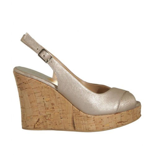 Woman's sandal in platinum laminated taupe leather wedge heel 10 - Available sizes:  42