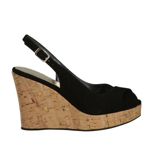 En Noir Talon Pour Femmes 10 Sandale Daim Compensé 8PnXNZ0wOk