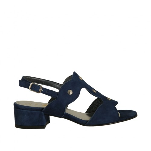 Woman's sandal with studs in blue suede heel 3 - Available sizes:  42