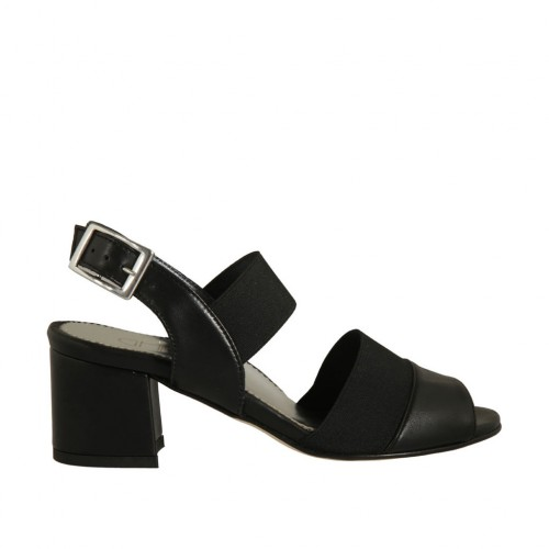 Woman's sandal with elastic bands in black leather heel 5 - Available sizes:  32, 44, 45