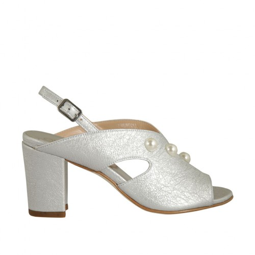 Woman's sandal with pearls in silver laminated leather heel 7 - Available sizes:  32, 33, 34, 43