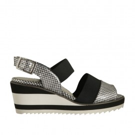 Woman's sandal in black and silver printed leather with elastic band wedge heel 6 - Available sizes:  31, 34, 43, 45