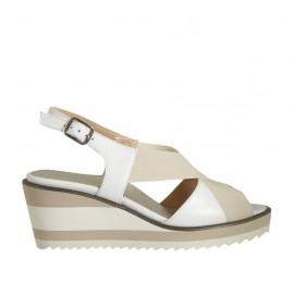 Sandalo da donna in pelle bianca con elastico zeppa 6 - Misure disponibili: 31, 32, 33, 34, 42, 43, 44, 45