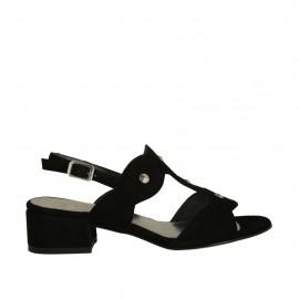 Sandalo da donna con borchie in camoscio nero tacco 3 - Misure disponibili: 32, 33, 34, 42, 43, 44, 45
