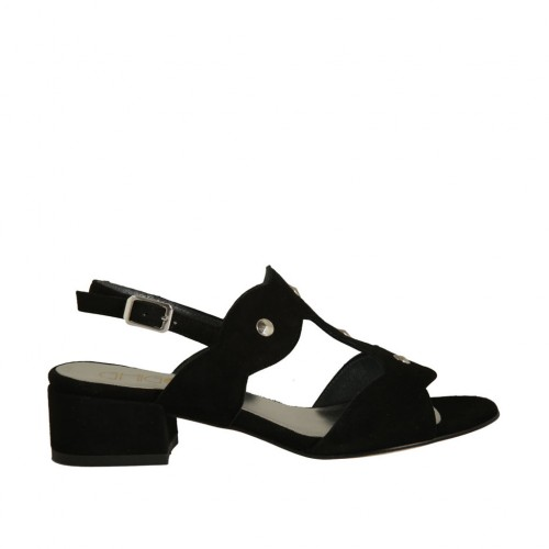 Woman's sandal with studs in black suede heel 3 - Available sizes:  32, 33, 43, 44