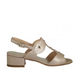 Sandalo da donna con borchie in pelle laminata rosa tacco 3 - Misure disponibili: 32, 33, 34, 42, 43, 44, 45