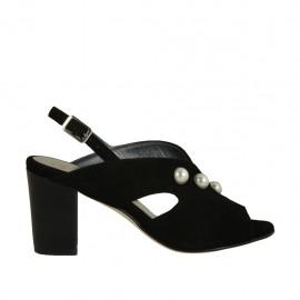 Sandalo da donna con perle in camoscio nero tacco 7 - Misure disponibili: 32, 33, 34, 42, 43, 44, 45