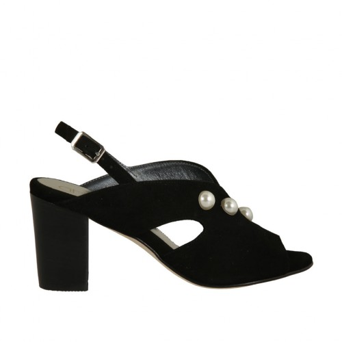 Woman's sandal with pearls in black suede heel 7 - Available sizes:  32, 34, 42, 43, 45