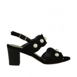 Sandalo da donna con perle in camoscio nero tacco 6 - Misure disponibili: 32, 33, 34, 42, 43, 44, 45