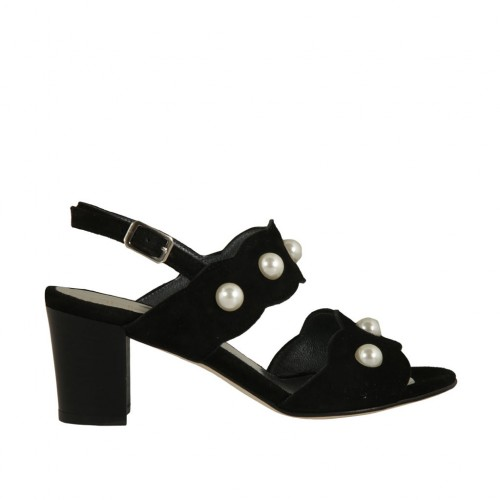 Woman's sandal with pearls in black suede heel 6 - Available sizes:  33, 34, 45