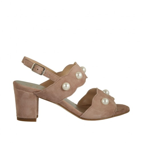 Woman's sandal with pearls in rose suede heel 6 - Available sizes:  32, 34, 42, 43, 45