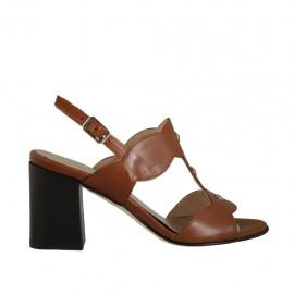 Sandalo con borchie da donna in pelle color cuoio tacco 7 - Misure disponibili: 32, 33, 34, 42, 43, 44, 45
