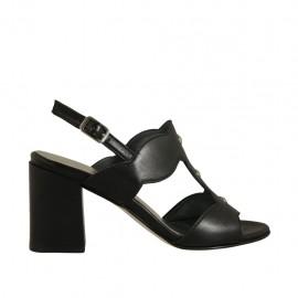 Sandalo con borchie da donna in pelle nera tacco 7 - Misure disponibili: 32, 33, 34, 42, 43, 44, 45