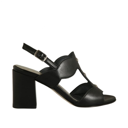 Woman's sandal with studs in black leather heel 7 - Available sizes:  32, 33, 34, 43, 44, 45