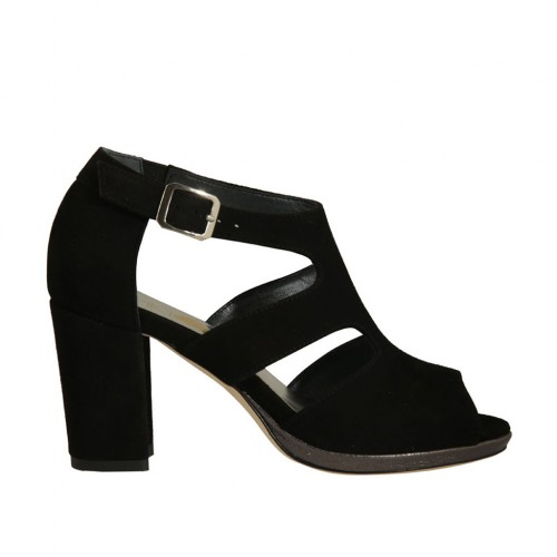 Woman's open platform pump with strap in black suede with heel 8 - Available sizes:  32