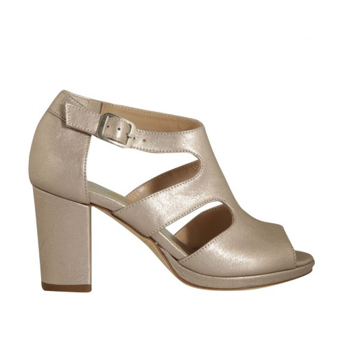 Woman's open platform pump with strap in rose laminated leather with heel 8 - Available sizes:  45