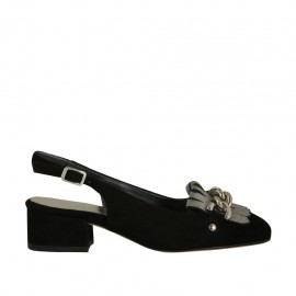 Damenchanel mit Fransen und Kette aus schwarzem Wildleder und silverlaminiertem laminiertem Leder Absatz 3 - Verfügbare Größen:  32, 33, 34