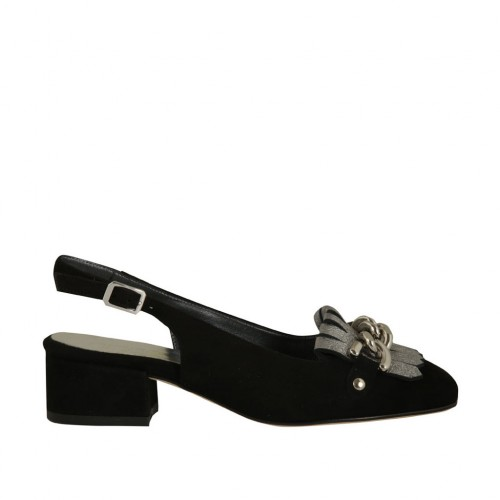 Woman's slingback pump with fringes and chain in black suede and laminated silver leather heel 3 - Available sizes:  32, 34