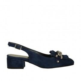 Woman's slingback pump with fringes and chain in blue suede heel 3 - Available sizes:  32, 33, 34, 42, 43, 45