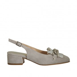 Woman's slingback pump with fringes and chain in grey suede and laminated silver leather heel 3 - Available sizes:  33, 34, 45