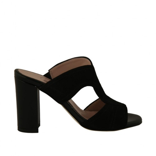 Woman's open mules in black suede and leather heel 8 - Available sizes:  43