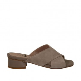 Woman's open mules in grey suede and leather heel 3 - Available sizes:  32, 34, 43, 44, 45