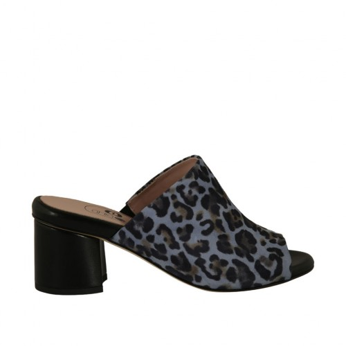Woman's open mules in printed blue suede and black leather heel 5 - Available sizes:  43