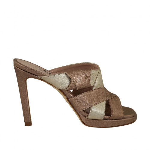 Woman's mules in bronze and platinum laminated leather with platform and heel 9 - Available sizes:  34
