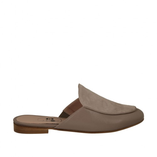 Woman's closed toe mules in grey suede and leather heel 1 - Available sizes:  33, 34
