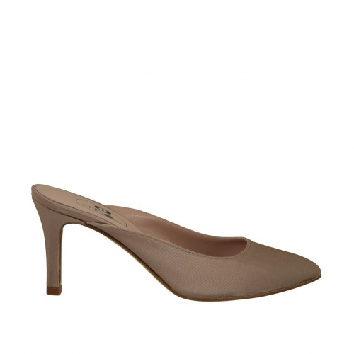 Woman's closed toe mules in beige fabric heel 7 - Available sizes:  33, 34, 42, 43, 44