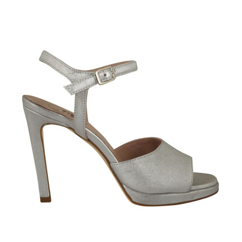 Woman's strap sandal with platform in laminated silver leather heel 10 - Available sizes:  32, 34, 42, 43, 44, 45