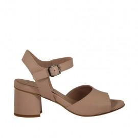 Sandale pour femmes en cuir rose avec courroie talon 5 - Pointures disponibles:  32, 33, 42, 43, 44, 45