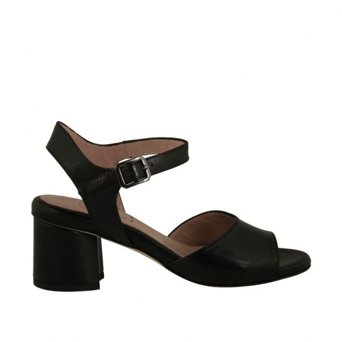 Woman's strap sandal in black leather heel 5 - Available sizes:  42