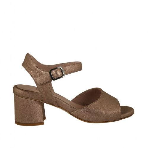 Woman's strap sandal in copper laminated leather heel 5 - Available sizes:  45