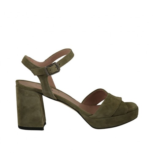 Woman's sandal in khaki green suede with platform heel 7 - Available sizes:  43, 44