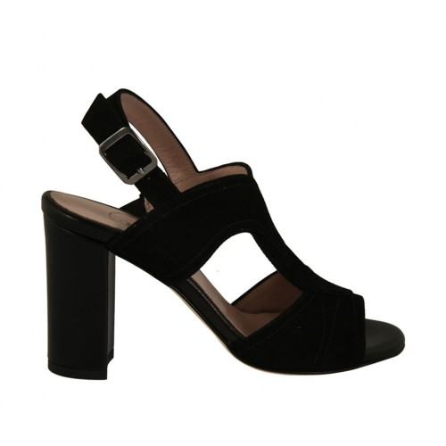 Woman's strap sandal in black suede and leather heel 8 - Available sizes:  32