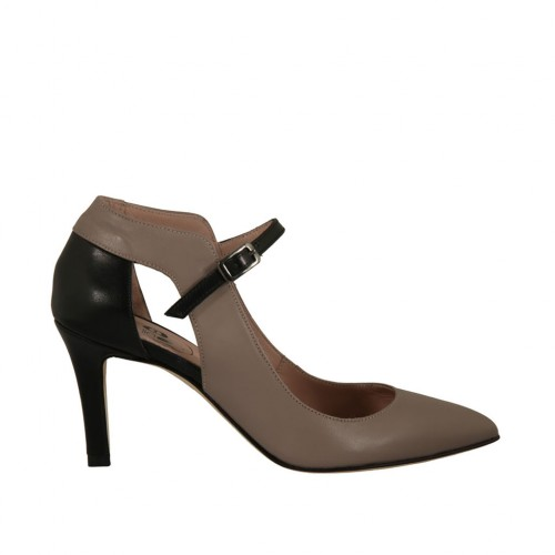 f1ea363d527 Woman s open pump shoe in black and taupe leather heel 7 - Available sizes   32