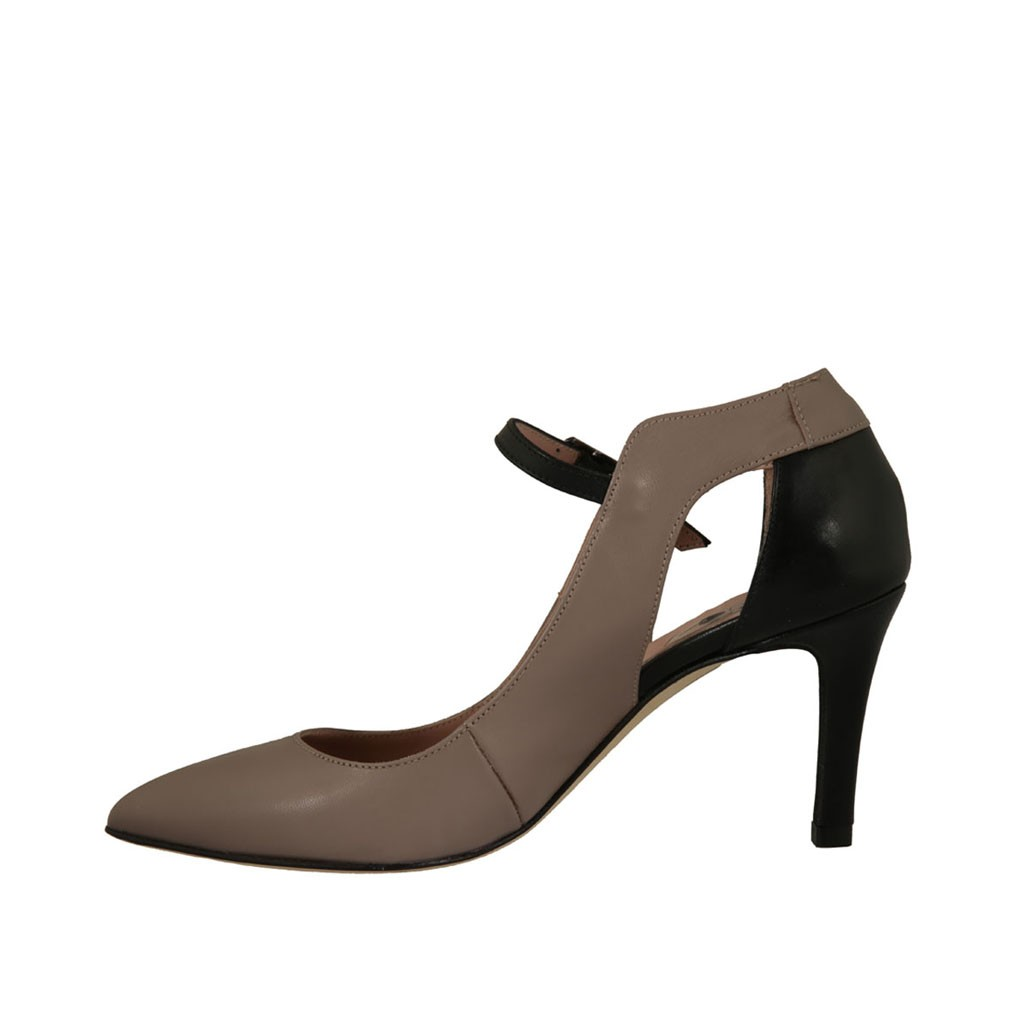 0734c5896a6 ... Woman s open pump shoe in black and taupe leather heel 7 - Available  sizes  32 ...