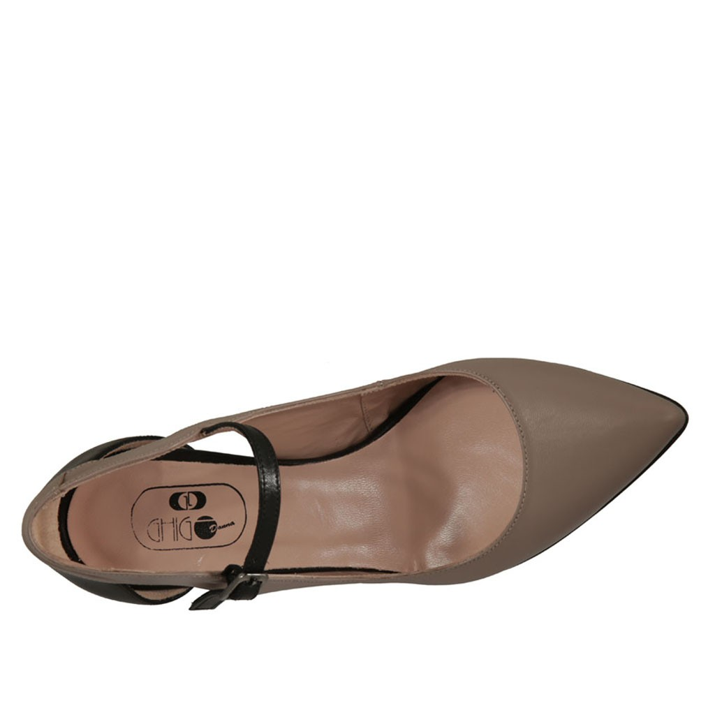 0d5e6c6e4f8 ... Woman s open pump shoe in black and taupe leather heel 7 - Available  sizes  32