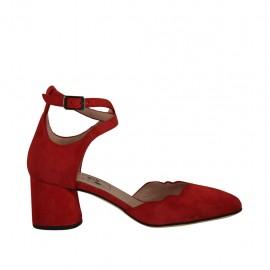 Scarpa aperta da donna con cinturino in camoscio rosso tacco 5 - Misure disponibili: 32, 33, 34, 42, 43, 44, 45