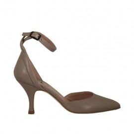 Scarpa aperta a punta da donna in pelle grigio tortora con cinturino tacco 7 - Misure disponibili: 32, 33, 34, 42, 43, 44, 45