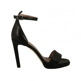 Woman's open strap shoe in black leather with platform and heel 10 - Available sizes:  34, 43, 44, 45