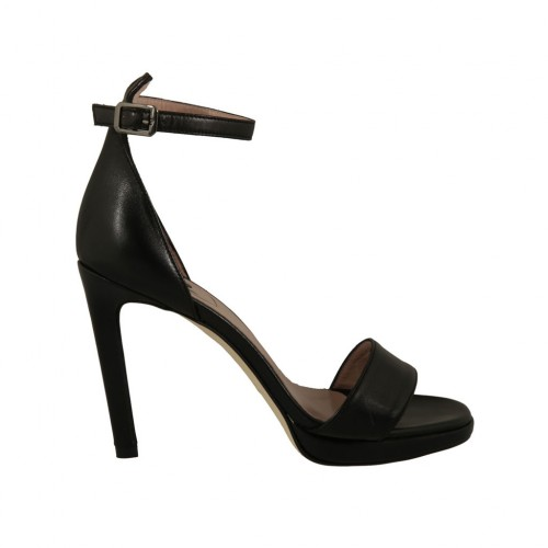 Woman's open strap shoe in black leather with platform and heel 10 - Available sizes:  44